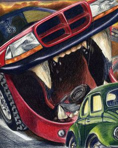 Road Rage Dodge eating a VW Beetle 12x12 colored pencil on illustration board