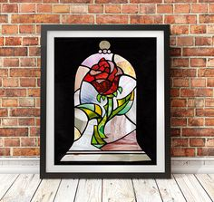 Beauty and the Beast Rose, Beauty and the Beast Print, Belle Wall Art, Christmas gift ideas, Tale as old as time, Canvas Art or Paper Print