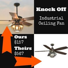Knock Off Industrial Ceiling Fan With Garden Planter Cage Lights.