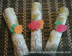 Make this fun craft with your kids. These Napkin rings will make any table setting look pretty! Templates included!