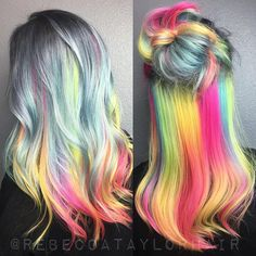 ⚡️Convertible Color ⚡️ This tutorial, along with my interview with @brazilianbondbuilder is coming out pretty soon I'm told. Can't wait for you guys to see  @sandi_rose @kenraprofessional #silverhair #rainbowhair #colorfulhair #hairstyle #haircolor #hair #neonhair