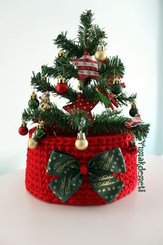 Happy New Year Red crochet basket