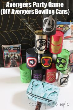 Avengers Party Game- DIY Avengers Bowling Cans perfect for an Avenger party or a Halloween costume party #avengers #ad #avengersunite