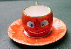 Halloween Germany Child's Tea Set, Handled small Tea Cup Saucer, 1908-1912