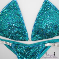 Sequin Teal Angel Bliss with crystal trim by NpcAngelBikinis