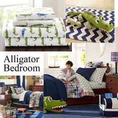 Pottery Barn Alligator Madras Bedding Crib Bedding Boy