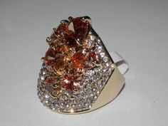 Crystal Ring~~Mixed Jewels~~SZ. 8~~Goldtone~~ Stunning #AimeesTreasures #Cluster