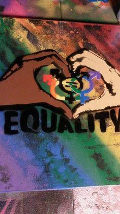 EQUALITY Spray Paint Art on 16x20 canvas Rainbow by WickedSprayArt