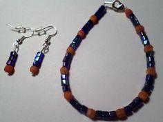 Purple and Orange Bracelet and Earring Set by MandyPandyGiftShop
