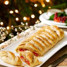 Mixed Pepper and Goat's Cheese Puff Pastry Plait. A tasty vegetarian pastry - great for a dinner party!