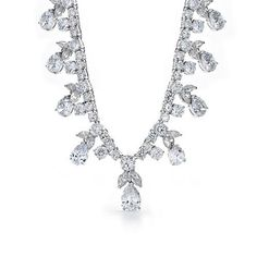 Bling Jewelry CZ Round Teardrop Marquise Vintage Style Necklace