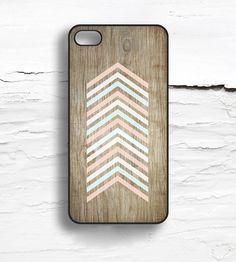 Faux Wood & Pastel Chevron iPhone Case