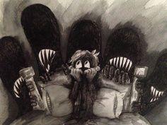 Watercolor Nightmares children's book illustration.