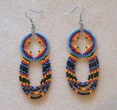 Native American Beaded Hoop Earrings Handmade AUTHENTIC (12/18/2008)