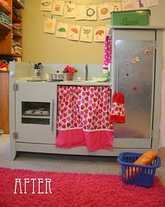 Baby changing transformed into play kitchen. I love seeing furniture repurposed into play kitchens!