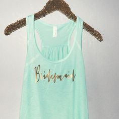 Mint & gold Bridesmaid tank top. by keeplifesimpledesign on Etsy