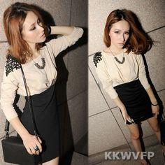 New Fashion Womens Long Sleeve Casual Clubwear Party Crew Neck Mini Dress Size S | eBay