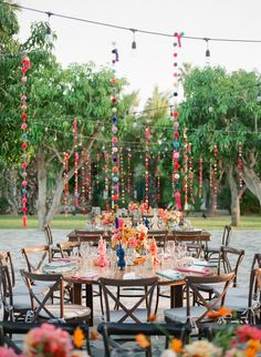 A Vibrant Welcome Party and Classic Beach Wedding in San José del Cabo, Mexico - [Inspiration] Festival Style Wedding - Pom poms hanging from a wire grid strung between the trees in the mango grove adds a festival feeli - Beach Wedding Reception, Wedding Weekend, Summer Wedding, Wedding Parties, Mexican Beach Wedding, Wedding Colors, Wedding Styles, Wedding Ideas, Wedding Pictures