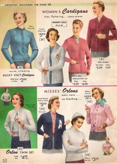 Vintage Sweaters: 1940s, 1950s, 1960s with Pictures