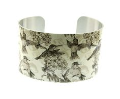 Vintage style cuff bracelet with humming birds and flowers, jewellery bangle in beige and cream - C119 on Etsy, $33.98