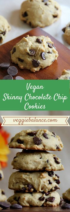 Skinny Chocolate Chip Cookies | Healthy, Low-Sugar, No oil, No butter, No eggs, Vegan friendly.