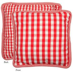 Anne Red Double Checked Pillow Cover from Heritage Lace