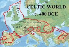 ) CELTIC WORLD c. 400 BCE ------- The first European Union had one language and one culture. Keltae probably meant 'shields' related to an Old Celtic root *kel- 'cover' and cognate with Germanic *s-kelto- 'shield'. Roman History, European History, British History, World History, Ancient History, European Map, Celtic Nations, Celtic Culture, Celtic Art