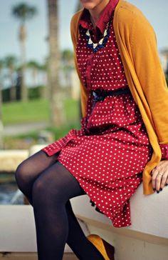 polka dot dress   burgundy, navy & mustard for fall