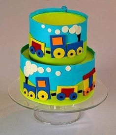 Blue & Green Cake with Primary Choo Choo Train