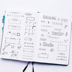 Cute Bullet Journal Planner doodles - spread
