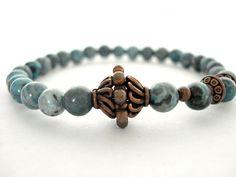 Meditation Bracelet Blue Jasper Copper by peaceofminejewelry, $26.00