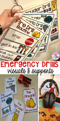 Fire Earthquake Tornado & Intruder Drills - Visuals and supports to make emergency drills less stressful and scary for kids in your preschool pre-k and kindergarten classrooms. Autism Classroom, Special Education Classroom, Future Classroom, Classroom Ideas, Kindergarten Classroom Organization, Kindergarten Center Signs, Kindergarten Procedures, Preschool Classroom Management, Kindergarten Routines