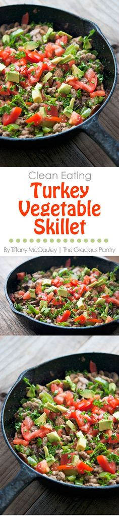 Clean Eating Turkey And Garden Vegetable Skillet Recipe- Clean Eating Recipe.- Clean Eating Turkey And Garden Vegetable Skillet Recipe- Clean Eating Recipes Clean Eating Dinner, Clean Eating Recipes, Healthy Eating, Cooking Recipes, Healthy Recipes, Healthy Dinners, Healthy Food, Diabetic Meals, Clean Diet