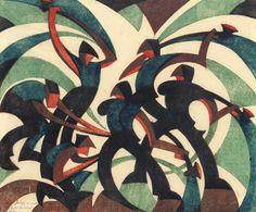 Sybil Andrews - Sledgehammers, 1933 (linocut)