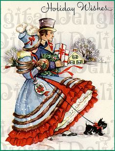 Regency Christmas Shoppers with Scottie--Vintage Christmas Illustration Vintage Christmas Images, Old Fashioned Christmas, Christmas Past, Victorian Christmas, Retro Christmas, Vintage Holiday, Christmas Pictures, Christmas Greetings, Christmas Holidays