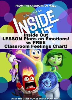 Inside Out lesson plans & classroom feelings chart with activities and ideas for students.