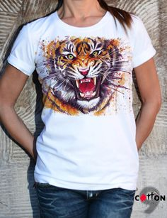 Hungry Tiger Cotton Tshirt / White T-Shirt / Handmade by Cotton9