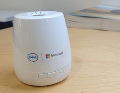 Mini bluetooth speaker overprinted with Dell and Microsoft logos for a promotion via Wr!ghts