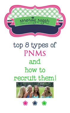 During rush, evaluating hundreds or thousands of PNMs can be overwhelming. Consider these distinct female personality types and see what they can do for your chapter. Along with your sorority values, think about WHO you want as a sister and WHAT they bring to your sisterhood. Tailor your tactics to each kind of PNM and give them what they're looking for. <3 BLOG LINK: http://sororitysugar.tumblr.com/post/118315843029/top-8-types-of-pnms-and-how-to-recruit-them#notes