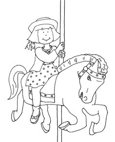 Free Dearie Dolls Digi Stamps: Carousel Horse with Girl