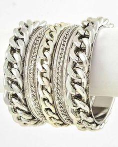 GYPSY Chunky 9 Pc Silver Biker Punk Chain BOHO Stacking Bangle Bracelet Set #other #Bangle