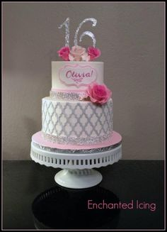 Sparkly Sweet Sixteen - Cake by Enchanted Icing