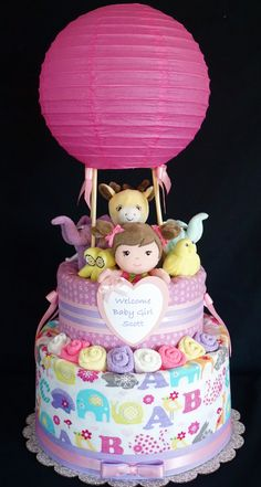 Hot Air Balloon Diaper Cake www.facebook.com/DiaperCakesbyDiana