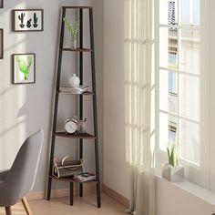 Buy Wallace Corner Bookshelf/Display Unit at Urban Ladder. Corner Bookshelves, Modern Bookshelf, Bookshelf Design, Ladder Bookcase, Bookshelf Makeover, Book Cabinet, Corner Storage, Ladder Decor