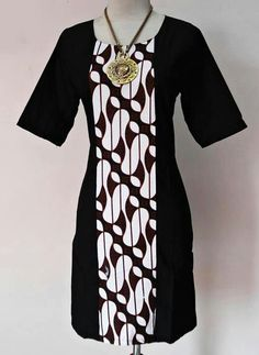 Batik dress inspiration - choose your fabric and have it tailor made to your measurements by Batik Kebaya, Kebaya Dress, Blouse Batik, Batik Dress, Batik Fashion, African Dress, Simple Dresses, Traditional Outfits, Dress Patterns