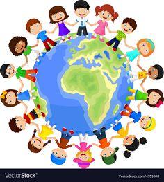 Circle Of Happy Children Different Races Stock Vector Art & Happy Children's Day, Happy Kids, Preschool Classroom, Preschool Art, International Children's Day, Different Races, Foto Poster, Les Continents, Baby Clip Art