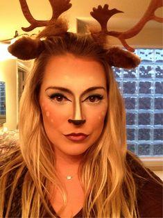 Deer makeup for hunter and his prey Halloween couple costumes.