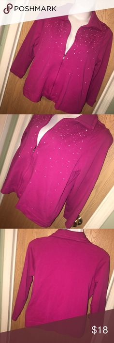 "Pink & rhinestone zip up jacket Cute pink and rhinestone zip up jacket. Good used condition. Size 2x. 95% cotton 5% spandex. 24"" from armpit to armpit when closed, 25"" total length. Laura Ashley Tops"