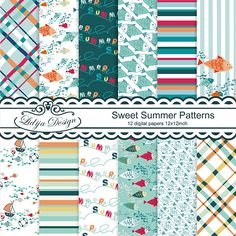 Sweet Summer Patterns-Lovely set of 12  Digital Papers . Great for invitations, gift tags, cards, textile, package, scrapbooking,  embellishments of invitations, papers guds, stationery, party decorations etc.