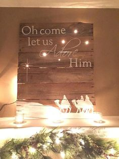 Handmade Wooden Religious Pallet Sign with lights on Etsy, $75.00